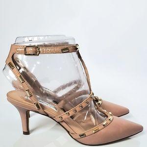Rockstud Caged Pointed Toe Kitten Heel Sandal